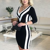 Fashion Elegant Causal V-Neck Black Mini Party Dresses Ladies Sexy - aleman fashion