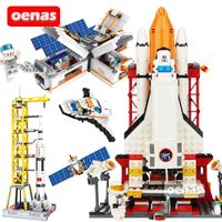 City Space Shuttle Launcher Center NASA Saturn V Spaceport Rocket Airplane Model Building Block Bricks Boy Educational Toys Gift - mybabyengineer