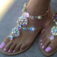 2021 Woman Sandals Fashion Shoes Rhinestones Chains Thong Gladiator Flat Sandals Crystal Chaussure Plus Size 42 tenis feminino - GEMS Express L.L.C.