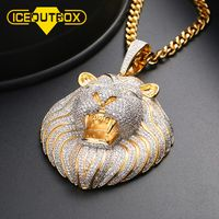 Big Exaggeration Lion Head Pendant Neckalce Hollow Back With AAA Cubic Zircon For Men's Hip Hop Jewelry Personality Fashion Gift