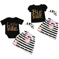 eprolo 3Pcs T-shirt Romper Skirt Headband Big Little Sister Twins Clothes Baby Girl Clothes Outfits Set