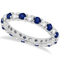 Brilliant Cut Eternity Diamond and Blue Sapphire Ring Band 14k White Gold (2.35ct)