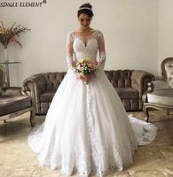 Ball Gown Lace Long Sleeve Wedding Dresses - Ameer Jahan
