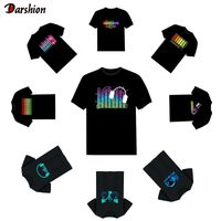 Hot Led t shirt Men Party Rock Disco DJ Sound Activated LED T Shirt Light Up and down Flashing Equalizer
