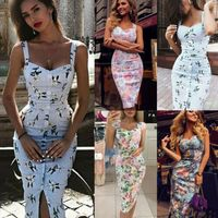 2019 Summer New Hot Sale Fashion Casual Style Womens Sexy Deep V neck Dress Floral Bodycon Party Cocktail Club Dresses USA