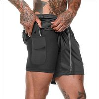 Men's Running Shorts 2 in 1 Sports  (Male double-deck Quick Drying)