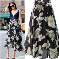 2019 summer and autumn large size floral black blue chiffon skirt in the long paragraph large swing skirt