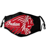 Face Mask Dustproof Windproof Indian Motorcycles Logo Masks for Unisex Outdoor/Work/Travel/Running Black