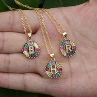 1 Pcs New Fashionable Rainbow Gold Micro Pave Rainbow CZ Cubic Zirconia A-Z Initials Letter Pendant Necklaces For Women Jewelry - JewelryNar