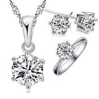925 Sterling Silver Bridal Jewelry Sets For Women Accessory Cubic Zircon Crystal Necklace Rings Stud Earrings Set Gift - JewelryNar