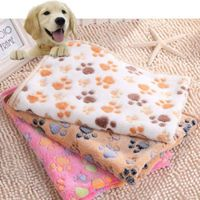 New Cute Dog Bed Mats Soft Flannel Fleece Paw Foot Print Warm Pet Blanket Sleeping Beds Cover Mat For Small Medium Dogs Cats - Pet owners20.com