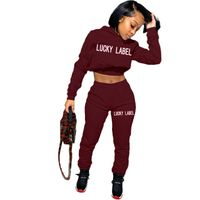 2020 Fall women clothing embroidery hoodie and jogger pants tracksuit lucky label two piece set fashion womens sweat suit - fashion-debrra-.com