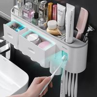 Toothbrush Holder and Dispenser with Storage