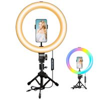 """10.2"""" RGB Ring Light with Mini Save-Space Tripod Stand, MACTREM Selfie LED Ring Light with Remote, 10 Brightness Level, 3 Normal Color & 14 RGB Mode for YouTube, Live Stream, Vlog, Zoom, Makeup - figscope Camera MACTREM"""
