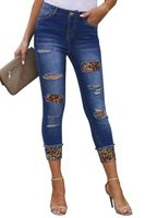 Distressed Skinny Jeans with Leopard Patches | Aviva Jeans TMOREES Blue (US 4-6)S