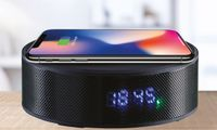 Multifunction Bluetooth Rechargeable Speaker With Qi Wireless Charging and Alarm Clock - TopSahara