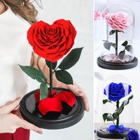 Heart Shaped Preserved Rose Beauty and The Beast Eternal Rose In Glass Dome Wedding Artificial Flowers Valentines Gift