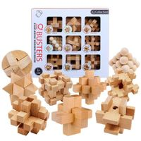 IQ Busters' 9PCS Wooden Puzzles and Educational Brain-Teasers Set - 7 ATAMS