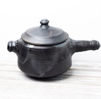 Clay Cooker with Outer Lid, Handmade Cooker for Rice and Dals Black (2Ltr) - Tribal Culture