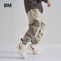 Corduroy Patchwork Casual Pants Hip Hop Cargo Trousers Men Clothing Streetwear Korean Velcro Joggers Fashion Sweatpants Male - MenswithStreetstyle