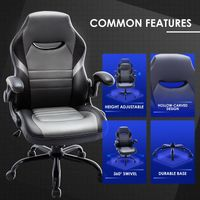 Executive Gaming Chair Racing Computer Office Desk Chair, 360°Swivel Flip-up Arms Ergonomic Design for Lumbar Support - Stop shop and zen