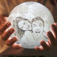3D Print Moon Lamp, Photo OR Text Custom with Wooden Base Included - Abellus