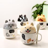 3D Ceramic Dog Coffee Mugs Fancy Cartoon Akita Tea Cup with Lid and Spoon for Cat Lovers - The Uggly Muggly