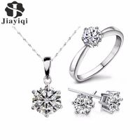 2018 Hot Sale Silver Color Fashion Jewelry Sets Cubic Zircon Statement Necklace & Earrings Rings Wedding Jewelry for Women Gift - The best for less