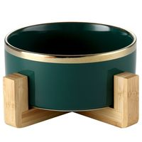 Ceramic Pet Bowl with Bamboo Frame - RoeDeerPet