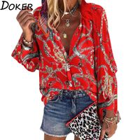 2020 New Design Plus Size Women Blouse V-neck Long Sleeve Chains Print Loose casual Shirts Womens Tops And Blouses - hursmangoodsstore