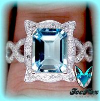 Aquamarine Engagement Ring 4ct Emerald Cut in a 14k White Gold Picture Frame Halo Setting - The IceFox