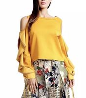Gracia  Cut-Out Shoulder with Big Ruffle Sleeve Top