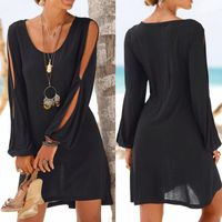 Casual Solid O-Neck Hollow Out Sleeve Straight Dress