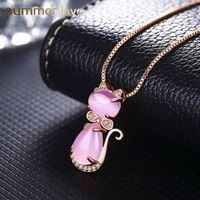 Cat Lover's Cute Crystal Necklace with Pink Kitty Cat Pendants - RinWab