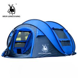 Large throw tent outdoor 3-4persons automatic speed open throwing pop up windproof waterproof beach camping tent large space - Campcrowd