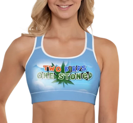 """Two Birds One Stoned @TWIT420"""" - TCA Padded Sports Bra - CIA (Cannabis Incognito Apparel)"""