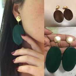 Green Oval Wooden Statement Earrings - La Grâce Collections