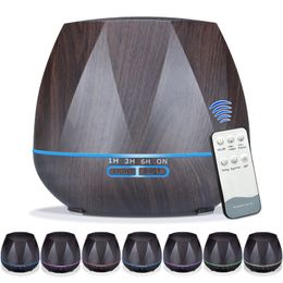 Remote Control, Wood Grain Diffuser w/ 7 color LED, High Capacity (500ML) - Oil Diffuser Essentials