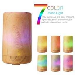 Wood Grain Diffuser with 7 Color LED Mood lighting (USB) - Oil Diffuser Essentials