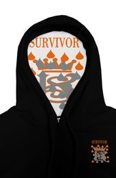 BLACK ORANGE GRAY EMBROIDERED HOODIE