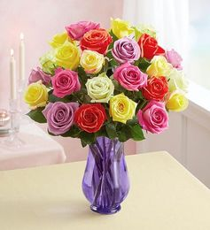 1-800-Flowers Two Dozen Assorted  Roses with Purple Vase - Purple Bigsales
