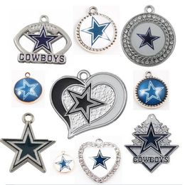 (20 Pieces/Lot) Wholesale Football Dallas Cowboys Dangle Charms For DIY Making Jewelry Bracelet Necklaces Earrings - Purple Bigsales