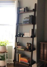 handcrafted dark walnut ladder shelf