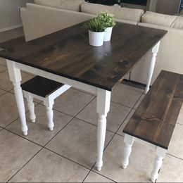 dark walnut and white farmhouse table and benches