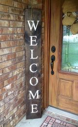 handcrafted wooden farmhouse welcome sign
