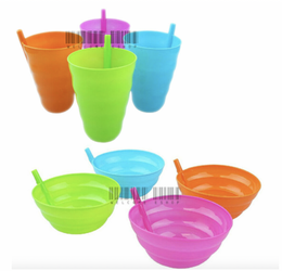 8 x Sip a Bowl & Sip a Cup for Kids Plastic Sippy Bowl & Cup with Built in Straw - TheViralThings.j