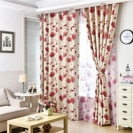 American Style Print Red Maple Leaf Curtains - HomeComfortz