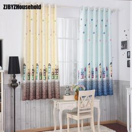Cartoon Boy Blue Coffee House Curtains for Children Room - HomeComfortz