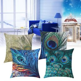 45 x 45cm Peacock Feather Printed Linen Cushion Cover - HomeComfortz