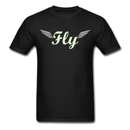 """Men's Black T-Shirt -with logo entitled """"fly"""" in glow in the dark print"""